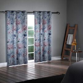 SERENITY NIGHT Set of 2 -  Flower Pattern Blackout Curtain with 8 Eyelets (Size 140x240cm) - Light Blue & Multi
