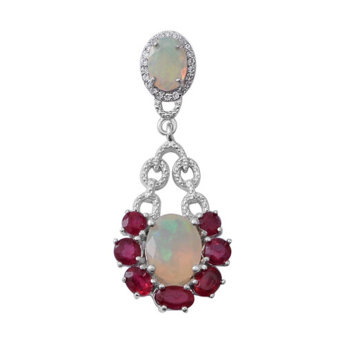 Designer Inspired-African Ruby (Ovl), Ethiopian Welo Opal and Natural Cambodian White Zircon Pendant