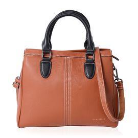 Sencillez 100% Super Soft Genuine Leather Tan Tote Bag with External Zipper Pocket and Removable Sho
