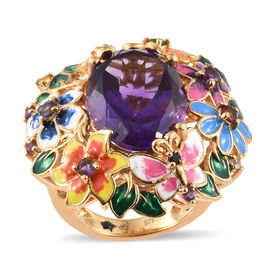 GP Amethyst (Ovl 18x13mm, 11.50 Ct), Russian Diopside, Mozambique Garnet and Multi Gemstone Enameled Ring in 14K Gold Overlay Sterling Silver 12.000 Ct, Silver wt 11.63 Gms.