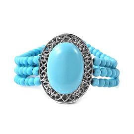 Blue Howlite Bracelet (Size 7.5) in Stainless Steel 60.00 Ct.