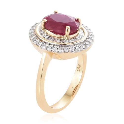 Designer Inspired- ILIANA 18K Yellow Gold AAAA Burmese Ruby (Ovl 9x7mm, 2.25 Ct), (SI/G-H) Diamond Ring 2.750 Ct, Gold wt 5.49 Gms