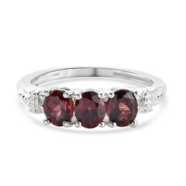 Raspberry Zircon 3-Stone Ring in Sterling Silver 1.33 Ct.