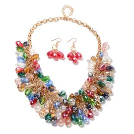 2 Piece Set - Multi Colour Simulated Gemstone Beads Necklace (Size 20 with 3 inch Extender) and Hook Earrings in Gold Plated