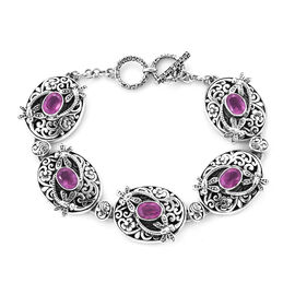 Royal Bali 9.95 Ct Pink Sapphire Floral Dragonfly Toggle Bar Bracelet in Silver 7.5 with Extender