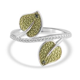 Green Diamond Leaf Bypass Ring in Platinum Overlay Sterling Silver