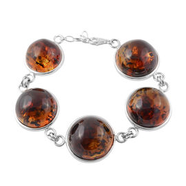 Baltic Amber Bracelet in Silver 22 Grams 7.5 Inch