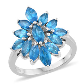 2.25 Ct Neon Apatite Cluster Ring in Platinum Plated Sterling Silver