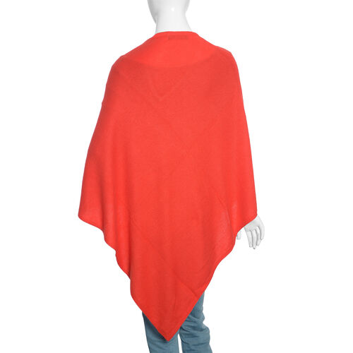 Limited Available - 100%  Cashmere Pashmina Wool Poncho - Red (Free Size)