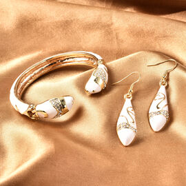 2 Piece Set -  White Austrian Crystal Serpent White Enamelled Cuff Bangle (Size 7) and Hook Earrings in Gold Tone