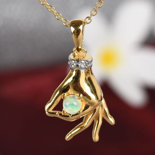 Ethiopian Welo Opal Mudra Hand Pendant With Chain (Size 20) in Yellow Gold and Platinum Overlay Sterling Silver 0.35 Ct, Silver wt. 7.02 Gms