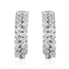 ELANZA Simulated White Diamond (Bgt) Hoop Earrings (with Clasp) in Rhodium Overlay Sterling Silver,