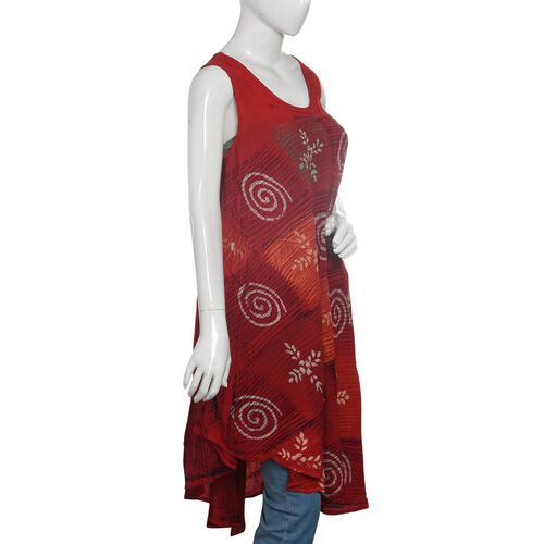 Red and Multi Colour Swirl Printed Apparel (Free Size)