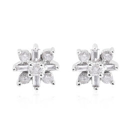 9K White Gold SGL Certified Diamond (Rnd and Bgt) (I3/G-H) Stud Earrings (with Push Back) 0.25 Ct.