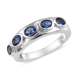 Burmese Blue Sapphire (1.05 Ct) Platinum Overlay Sterling Silver Ring  1.000  Ct.