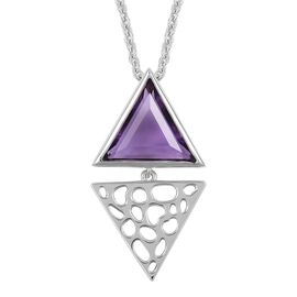 RACHEL GALLEY 3.57 Ct Amethyst Lattice Pendant with Chain in Rhodium Plated Silver 8.10 Grams