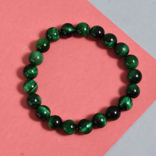 One Time Deal- Green Tiger Eye Stretchable Beads Bracelet (Size 7.5) 128.34 Ct.