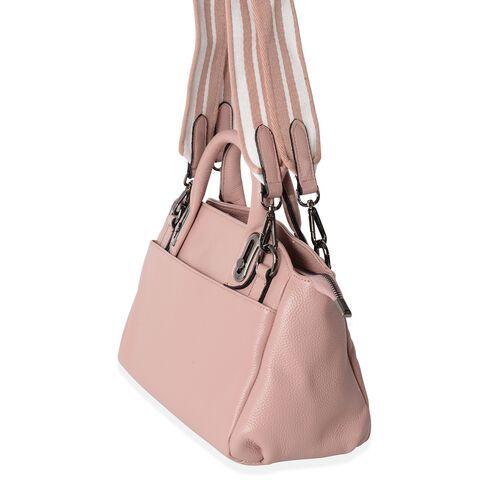 Premium Super Soft Genuine Leather Dusty Pink Colour Tote Bag with External Zipper Pocket and Removable Shoulder Strap (Size 32x28x20x12 Cm)