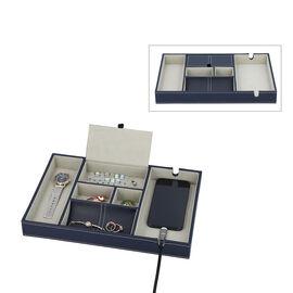 Mens 6 Section Portable Jewellery Organiser (Size 35x24x4Cm) - Navy