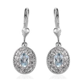 2.15 Ct Espirito Santo Aquamarine and Zircon Drop Halo Earrings in Platinum Plated Sterling Silver