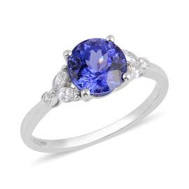 ILIANA 2.67 Ct AAA Tanzanite and Diamond Solitaire Design Ring in 18K White Gold 2.85 Grams SI GH