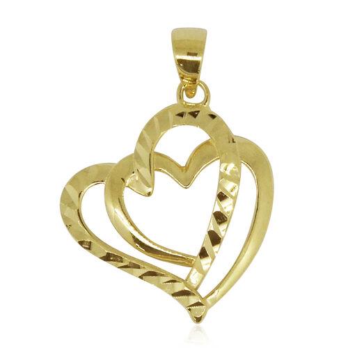 Designer Inspired - 9K Yellow Gold Double Heart Pendant