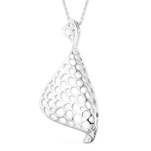 RACHEL GALLEY Lattice Collection - Rhodium Overlay Sterling Silver Lattice Pendant with Chain (Size