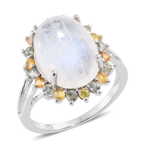Sri Lankan Rainbow Moonstone (Ovl 10.85 Ct), Multi Sapphire Ring in Platinum Overlay Sterling Silver 12.000 Ct.