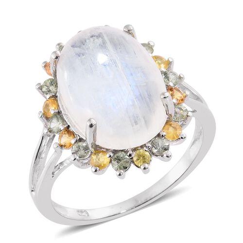 Sri Lankan Rainbow Moonstone (Ovl 10.85 Ct), Multi Sapphire Ring in Platinum Overlay Sterling Silver