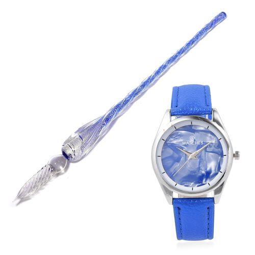 STRADA Japanese Movement Water Resistant Watch with Twriled Surface Murano Glass Pen - Blue