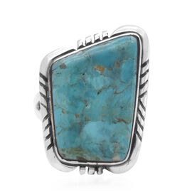 Santa Fe Collection - Turquoise Ring in Rhodium Overlay Sterling Silver 3.50 Ct.