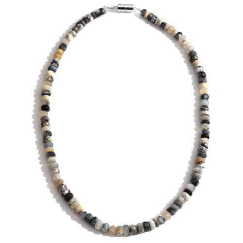 Very Rare Natural Australian Dendritic Opal (Rnd) Faceted Beads Necklace (Size 18) with Magnetic Clasp in Rhodium Plated Sterling Silver 150.000 Ct.