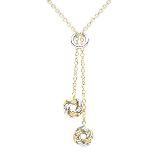 Designer Inspired Close Out Deal 9K Yellow and White Gold Entwined Circles Necklace (Size 17-18)