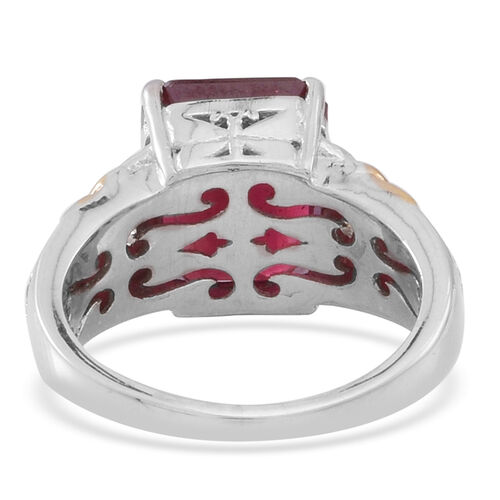 African Ruby (Oct 9.30 Ct), Natural Cambodian White Zircon Ring in Rhodium and Yellow Gold Overlay Sterling Silver 9.550 Ct.