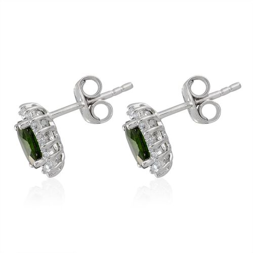 Russian Diopside (Ovl), White Topaz Stud Earrings (with Push Back) in Platinum Overlay Sterling Silver 1.250 Ct.