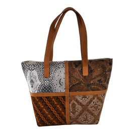 100% Genuine Leather Hand Crafted Batik Handbag (Size Top 42, Bottom 30x14x31 Cm) - Brown