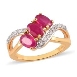 African Ruby and Natural Cambodian Zircon Ring in 14K Gold Overlay Sterling Silver 2.05 Ct.