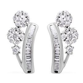 0.50 Carat Diamond Pressure Set Floral Earrings (with Push Back) in 9K White Gold SGL Certified I3 G