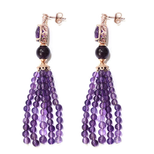 Designer Inspired - Amethyst and Natural Cambodian Zircon Tassel Earrings (with Push Back) in Rose Gold Overlay Sterling Silver 40.000 Ct. Number of Gemstones 126