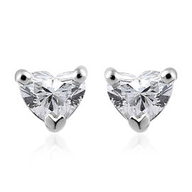 RHAPSODY 950 Platinum Diamond (Hrt) (VS / F) Heart Stud Earrings 0.250 Ct.