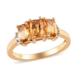 1.79 Ct Brazilian Citrine and Diamond Ring in Gold Plated Silver
