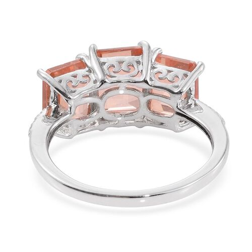 Galileia Blush Pink Quartz (Oct 2.50 Ct) 3 Stone Ring in Platinum Overlay Sterling Silver 6.000 Ct.