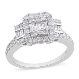 NY Close Out Deal- 14K White Gold Diamond (I1-I2/G-H) Ring 1.00 Ct., Gold wt 5.40 Gms. Size N