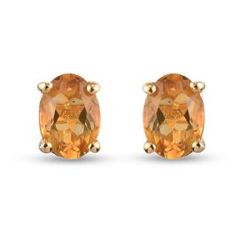 Citrine Stud Earrings (with Push Back) in 14K Gold Overlay Sterling Silver 1.50 Ct.