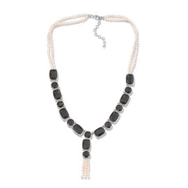 Boi Ploi Black Spinel (Cush), Fresh Water Pearl Necklace (Size 18 and 2 inch Extender) in Platinum Overlay Sterling Silver 202.500 Ct.
