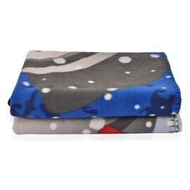 Super Soft Snowman Print Pattern Fleece throw - 200 Gsm -  Size 130x170cm.