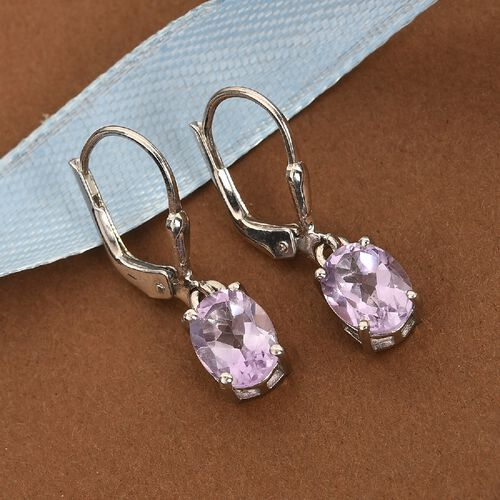 MP AA Rose De France Amethyst (Ovl) Lever Back Earrings in Platinum Overlay Sterling Silver 2.27 Ct.