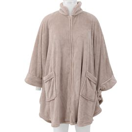 Solid Colour Super Soft Microfibre Jacket with Front Zipper Opening - Light Khaki