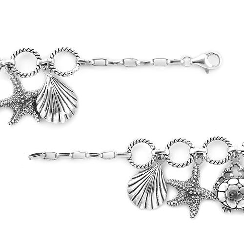 Royal Bali Collection - Sterling Silver Starfish, Turtle and Sea shell Charm Bracelet (Size 8), Silver wt 23.60 Gms
