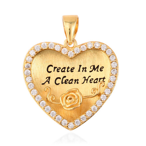 ELANZA Simulated Diamond Heart and Embossed Rose Pendant in Black and Yellow Gold Overlay Sterling S